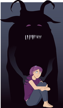 Teenager and depression. Scared girl sitting hugging her knees, a monster touching her shoulders, vector illustration