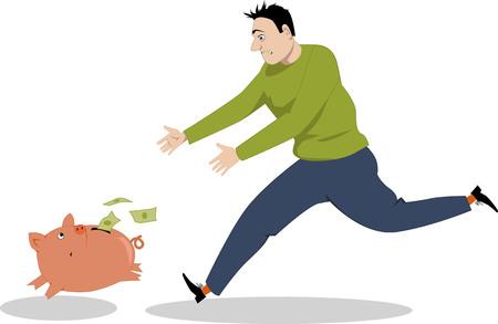 losing money: Desperate man chasing piggy bank, that is running, losing money, vector cartoon