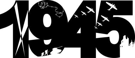 seconda guerra mondiale: La vittoria della seconda guerra mondiale simbolo commemorativo, illustrazione vettoriale, sagoma nera, nessun bianco