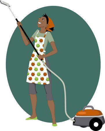 Lachende cartoon zwarte vrouw stofzuigen, vector illustratie