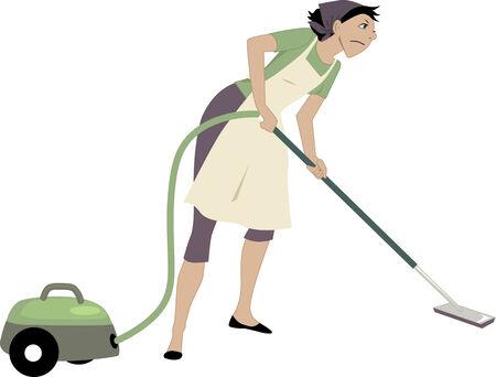 Geërgerd vrouw met behulp van een stofzuiger, vector illustratie