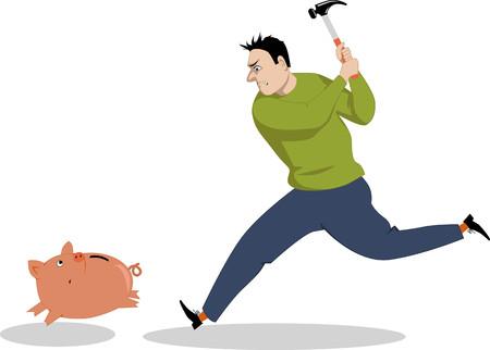 Man running after a piggy bank with a hammer, vector illustration