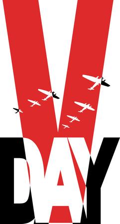 world war two: Commemorative Second World War victory day symbol, vector illustration