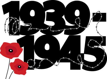seconda guerra mondiale: La seconda guerra mondiale il simbolo commemorativa con date di calendario, papaveri e filo spinato Vettoriali