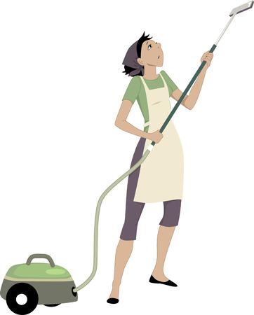 Femme avec un aspirateur Vecteurs