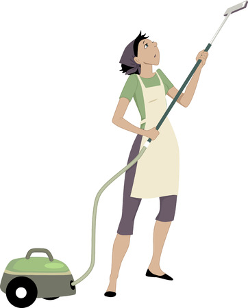 Woman with a vacuum cleaner Ilustrace