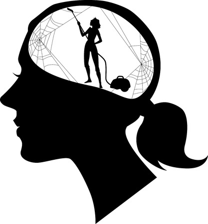 upkeep: Black female profile with a silhouette of woman, cleaning cobweb, black vector silhouette, no white Illustration