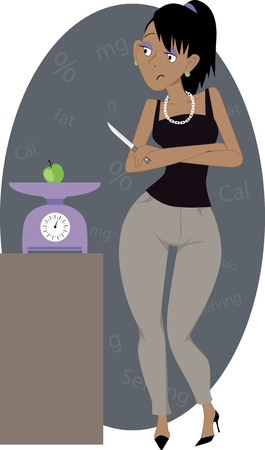 Crash Diet. Young sad woman with a knife looking at a small apple lying on a kitchen scales