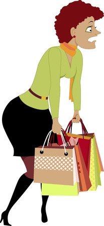 exhausted: Sales season. Exhausted woman carrying shopping bags, vector cartoon, no transparencies