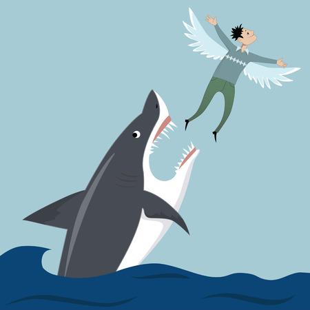 Winged man flying away escaping shark\\\'s teeth