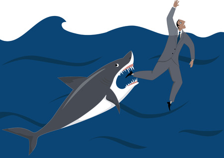 Shark is about to catch a drowning businessman, metaphor for fierce competition in business, no transparencies