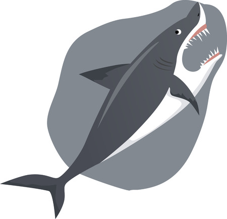 Cartoon great wight shark with its mouth open Иллюстрация
