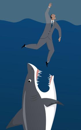 ahogarse: Tiburón ataca a un hombre de negocios ahogamiento, ilustración vectorial Vectores
