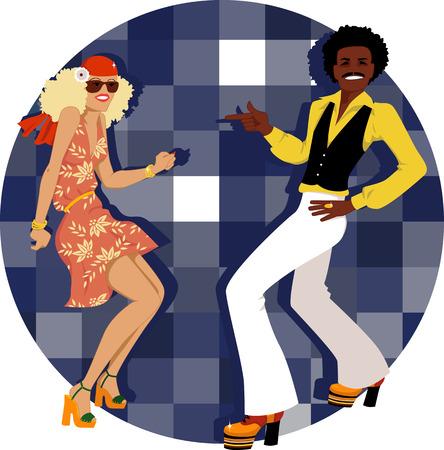 Jong koppel gekleed in 1970 mode dansende disco, vector illustratie, geen transparanten