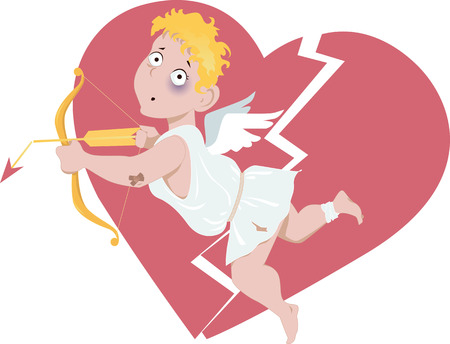 lost love: Beaten Cupid with a broken arrow, broken heart on the background, vector cartoon Illustration