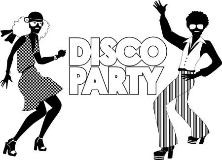 Black vector silhouette for a disco party banner with a dancing couple dressed in 1970s fashion, no white, will look the same on any color background Vettoriali