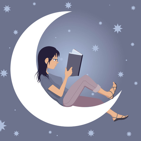 Woman reading a book, sitting on the crescent Moon, starry sky on the background, vector illustration, no transparencies.