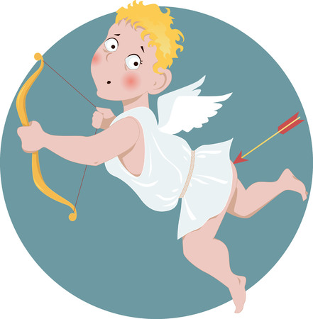 Cartoon Valentine Day Cupid shot himself in the bottom with an arrow, vector illustration, no transparencies, EPS 8
