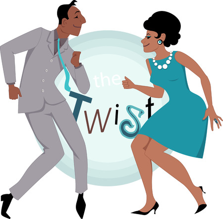 Black couple dressed in late 1950\'s early 1060\'s fashion dancing twist, vector illustration