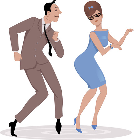 Par de dibujos animados vestido de 1960 a principios de moda bailando el twist, ilustración vectorial, sin transparencias