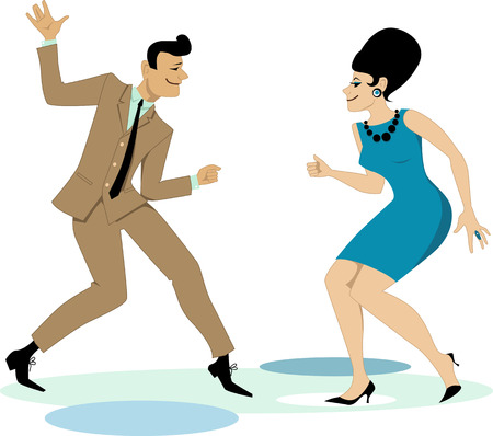 Cartoon couple dressed in early 1960s fashion dancing twist, vector illustration, no transparencies EPS 8 Illustration