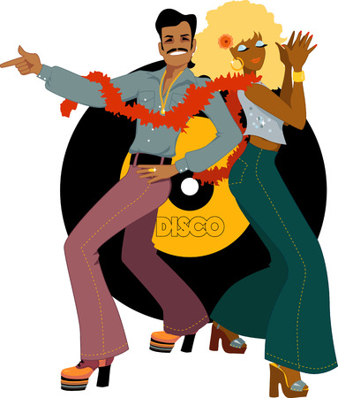 Young couple dressed in 1970s fashion dancing disco, vinyl record on the background, vector illustration, no transparencies Vettoriali