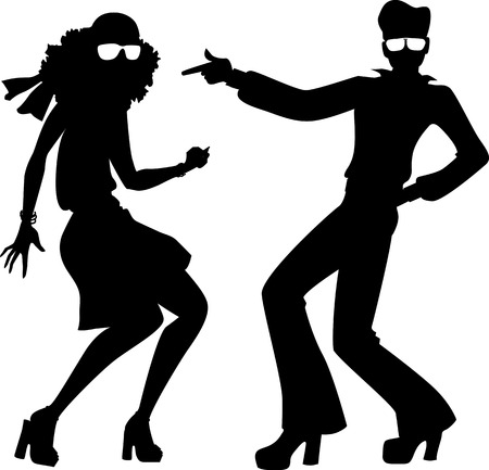 disco girls: Black isolated silhouette of a couple dressed in 1970s fashion dancing disco, vector illustration