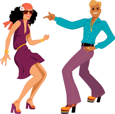 Young Caucasian couple dressed in 1970s fashion dancing disco, vector illustration, isolated on white, no transparencies