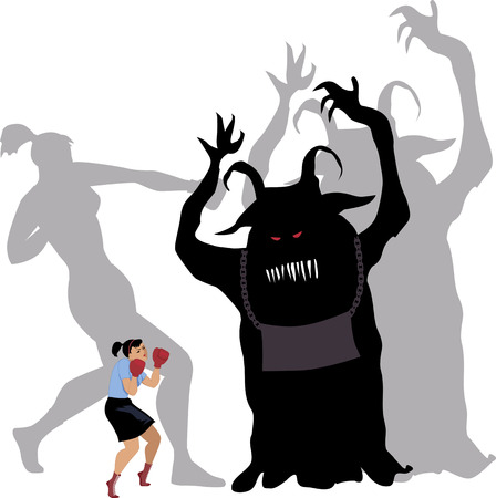 Woman standing up against a monster, her shadow fearlessly fighting it, vector illustration, no transparencies, EPS 8