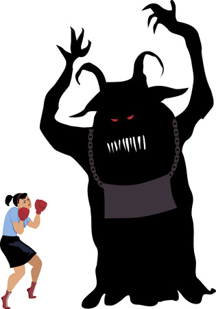 oppose: Woman in boxing gloves standing against a monster Illustration