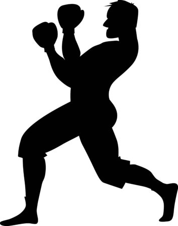 Black silhouette of a boxer in fighting stance, isolated on white, side view Ilustração