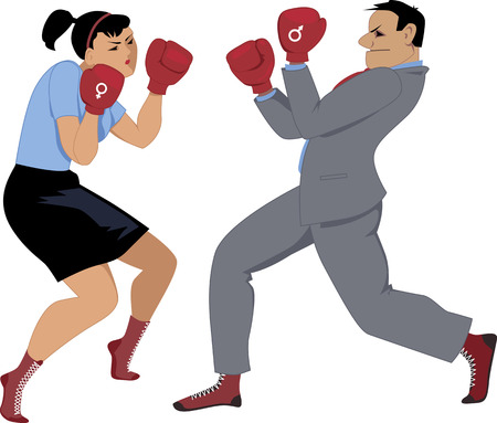 Man and woman with male and female symbol on their boxing gloves fighting isolated on white Ilustração