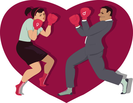 War of sexes. Man and woman boxing, heart shape on the background, vector illustration