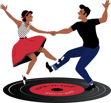 tanzen: Rockabilly Alle Paare tanzen auf einer Vinyl-Schallplatte Illustration