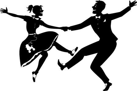 ロックン ロールのダンス シルエット