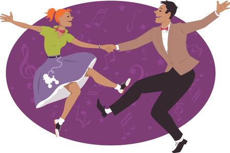 taniec: 1950 Para tańczy w stylu rock and roll
