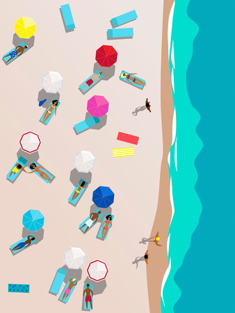 People on the beach aerial view