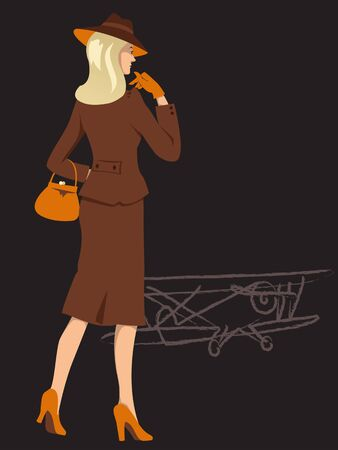 wartime: Blond woman, elegantly dressed in 1940s fashion, wartime biplane on the background, vector illustration Illustration