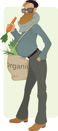 subculture: Bearded man with a tote bag filled with greens eating a carrot, vector illustration, no transparencies,