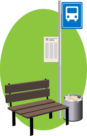 stop sign: A bus stop with a bench, sign with a schedule and a trash can, vector illustration
