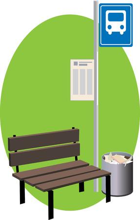parada de autobus: Una parada de autobús con un banco, firmar con un horario y un bote de basura, ilustración vectorial