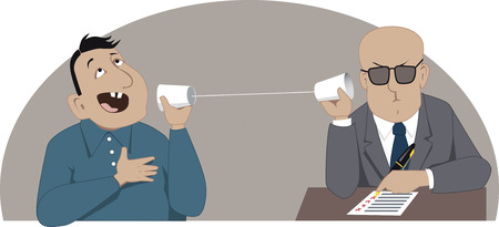 Phone job interview Ilustracja