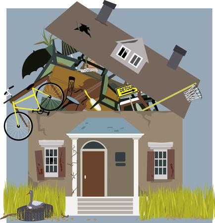 mental object: Casa de acaparador sobrevolado con cosas acumulada, ilustraci�n vectorial