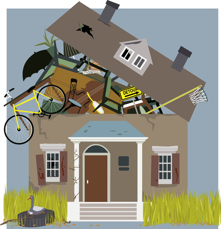 Hoarder\'s house overflown with accumulated stuff, vector illustration