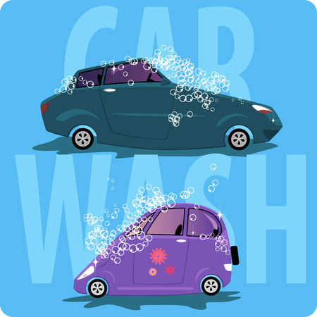 Car wash. Two cartoon cars shampooed and covered with bubbles, vector illustration