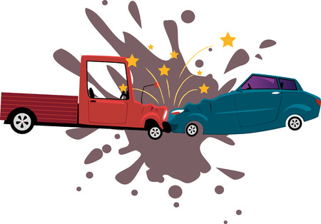 Pick-up truck collided with a sport sedan, vector cartoon, no transparencies, EPS 8 Illustration