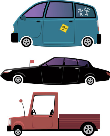 Set of three cartoon car illustration: minivan, limousine and a pick-up truck, isolated on white, EPS 8, no transparencies