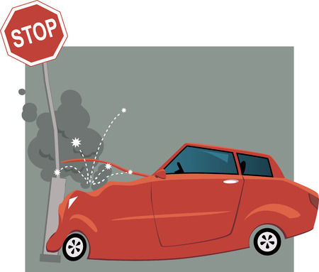 crashed: Car crashed into a traffic sign Illustration