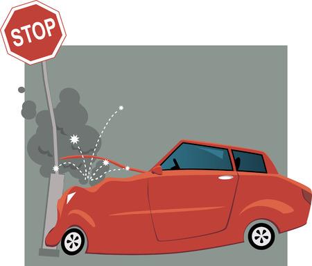 Car crashed into a traffic sign Illustration
