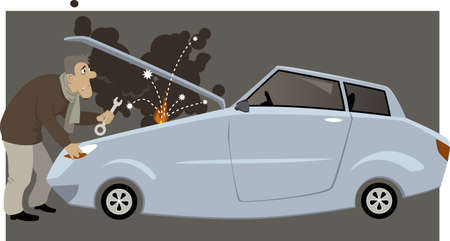 motorist: Man with a wrench standing next to a car with open hood, smoke, flames and sparkles coming from an engine, vector cartoon, no transparencies.
